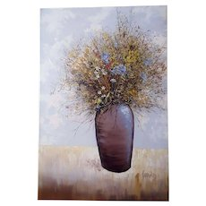 Large Vintage Antonio Candelas Abstract Floral Still Life Painting Oil On Canvas 3 Feet by 2 Feet
