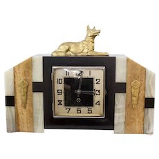 Vintage Art Deco German Shepard Shelf Clock