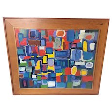 1980s Abstract Colorful Geometric Painting Signed Sabato