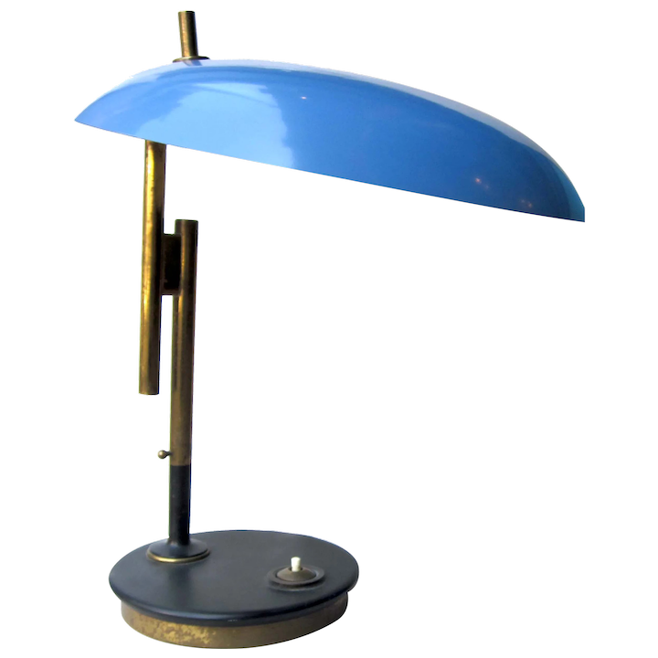 Strange Vintage 1950S Dutch Mid Century Modern Ufo Space Age Atomic Style Lamp With Cerulean Blue Shade And Brass Detail Attributed To Louis Christiaan Kalff Gmtry Best Dining Table And Chair Ideas Images Gmtryco