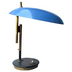 Mid Century Modern Louis Christiaan Kalff UFO Blue Shade Space Age Desk / Table Lamp