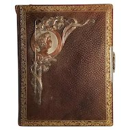 Art Nouveau Antique Photo Album With Copper Woman Embellishment