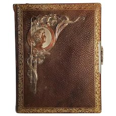 Art Nouveau Antique Photo Album With Copper Woman Embellishment