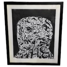 """Mid Century Misch Kohn """"Patriarch"""" Etching On Paper Signed and dated 1962"""