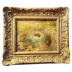 Rare Albert Durer Lucas Bird Nest Oil On Canvas Signed & Dated 1905 Painting
