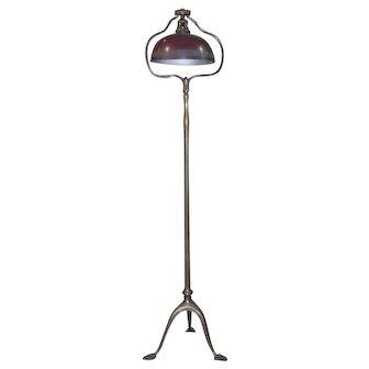 Signed Tiffany Studios Art Nouveau Tripod Floor Lamp