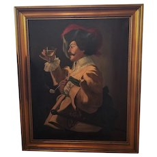 "Antique 'Cavalier' Oil Painting On Canvas Signed ""Gale"" 29 by 35 inches"