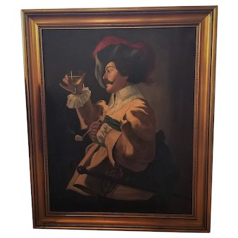 """Antique 'Cavalier' Oil Painting On Canvas Signed """"Gale"""" 29 by 35 inches"""