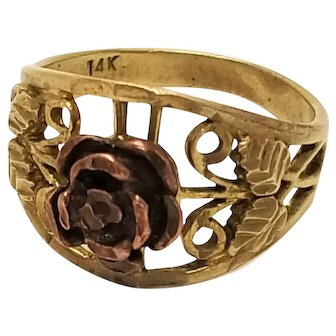 Vintage 14k Rose Ring With Rose Gold Center and Yellow Gold Band Size 8