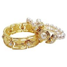 KJL Gold Tone and Faux Pearl Bracelet Gift Set Double Stranded Imitation Pearl Bracelet and Greek Key Square Link Bracelet Kenneth J. Lane Bridal
