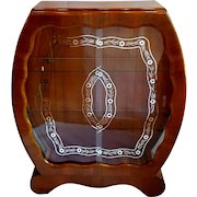 Wooden Curved Art Deco Silver Leaf Round Curio Bookcase Curio China Cabinet Display Case With Two Shelves