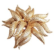 Vintage Gold Tone Coro Flower Feather Brooch Pin