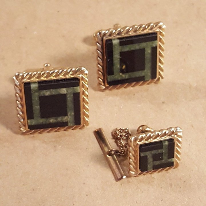 a650dd5b661f Anson 12k Gold Filled Onyx and Malachite Square Cufflinks Cuff Links and  Matching Tie Tack