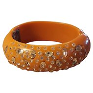 Rare Orange with Clear Rhinestone 1940's thermoset plastic Clamper Hinged Bangle Bracelet