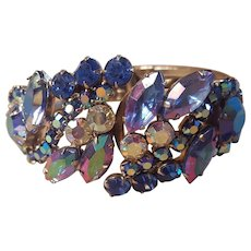 Purple and Blue AB Aurora Borealis Rhinestone Hinged Clamper Bracelet