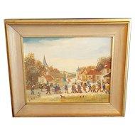 Vintage Jean Fous French Folk Art Parade Framed Painting