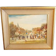 Vintage Jean Fous French Folk Art Parade Framed Painting