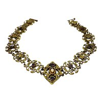 Antique Art Nouveau Gold Plated Intricate Floral Openwork Panel Amethyst Glass and Citrine Glass Elegant Romantic Choker Necklace