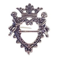 Antique 830 Silver Cherubs Heart Crown Coat of Arms Pin Brooch