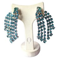 Teal Rhinestone Double Sided Waterfall Drippy Clip On Earrings Prong Set