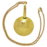 "Modernist ""ART"" Hammered Brass disk or pan on Chain Necklace"
