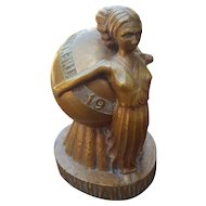Rare Andrew Loomis 1937 Trophy Award for The Nations Art Gallery Eighth Annual Exhibit Outdoor Advertising Art in form of Art Deco Lady