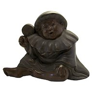 Antique Asian Baby Boy With Rattle Bronze Ink Well