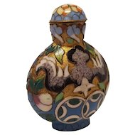 Enameled Cloisonne Asian Snuff Bottle With Gold Leaf And Original Snuff Spoon Inside Lid