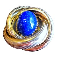 Vintage Arnold Scaasi Faux Lapis oval Cabochon Pin/Brooch
