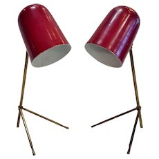 Rare Pair of French Mid Century Modernist Cocotte Desk Lamp 1950's Adjustable Table Light