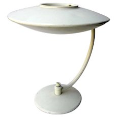 Vintage 1950s Mid Century Atomic Age MCM Dazor Ufo Desk Lamp or Table Lamp With Eggshell White Finish and Original Fiberglass Shade