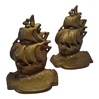 Small Brass Ship Bookends Mini Sized 4 Inches Tall