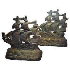 Vintage Metal Pirate Ship Bookends 5.5 Inches Tall Nautical Theme