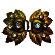 Vintage Copper Leaf Belt Buckle with colorful Glass Rainbow Cabochons
