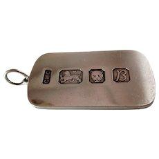 Vintage 925 Sterling Silver Ingot Pendant- Lion, Leopard, Date Letter B