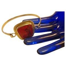 Vintage MCM dark red jasper cabochon and Sterling Silver bracelet