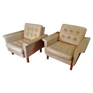 Danish Modern Light Grey Leather  Mid Century Modern Pair of Chairs