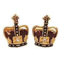 Vintage Swank 50's Crown Regal Cufflinks, Royal Cuff Links, King Cufflinks, Queen Cufflinks