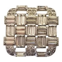 Vintage Art Deco Square KTF Early Trifari Square Brooch, Square Pin With Baguette And Clear Rhinestones