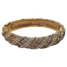 Vintage Panetta Gold Tone Basket Weave Rhinestone Bracelet