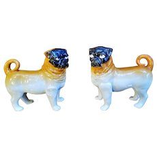 Victorian Era 19th Century Staffordshire Pair of Standing Pugs, Dogs