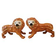 Pair of 19th Century Staffordshire Standing Lions