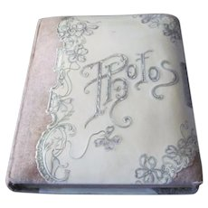 Art Nouveau Antique Photo Album with velvet and patent leather and hand engraved floral embellishments -Wedding Album