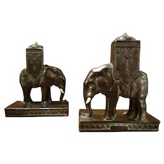 Art Deco Ronson Indian Elephant Bookends 1923