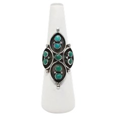 Vintage Sterling Silver Turquoise Native American Ring Signed F.W. Size 11, Gift For Her, Navajo Jewelry