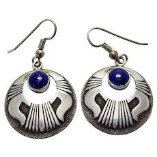 Vintage Navajo MB Native American Sterling Silver Lapis Dangle Earrings