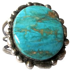 Vintage Oversized Incredible Gold-Veined Turquoise Sterling Silver Native American Artisan Cuff Bracelet