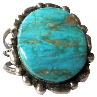 Giant Sterling Turquoise Cuff, Polished Turquoise, Sterling Silver Native American Cuff, Turquoise Cuff, Gift For Her