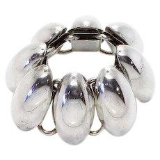 Rare Gerda Lynggaard For Monies Copenhagen Silver Egg Bracelet. Runway Bracelet, Designer Bracelet, Egg Bracelet, Chunky Bracelet. Statement