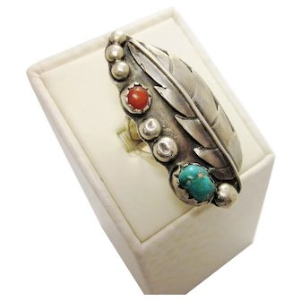 Vintage Native American Sterling Silver Turquoise and Coral Ring Signed Sona Barker 925 Size 7.5